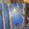 A three-quarter moon is pretty bright so I need to show it's reflection against the trees. I added detail to the tree trunks with raw and burnt umber and the highlight with white and ultramarine blue.